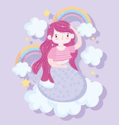 cute little mermaid sitting on cloud with rainbows vector image