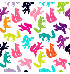 cute seamless pattern with a fox constellation of vector image
