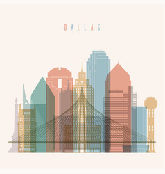 Dallas state texas skyline detailed silhouette vector
