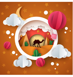 desert landscape cartoon paper illstration camel vector image
