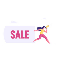 discount advertising alert business concept woman vector image