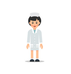doctor woman cartoon female doctor stands with vector image