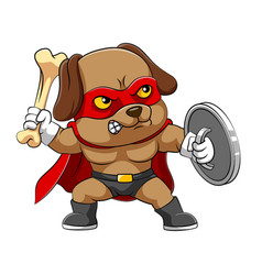 dog with angry expression holding the vector image