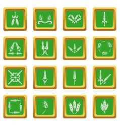 Ear corn icons set green square vector