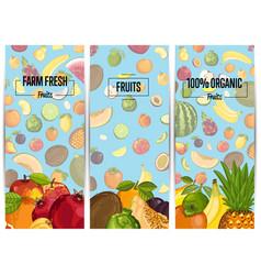 farm fresh fruit vertical flyers set vector image