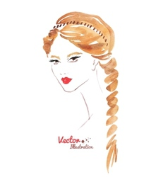 Female face Braid hairstyle vector