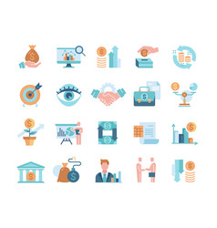 Financial management colored icons vector
