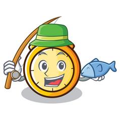 Fishing chronometer character cartoon style vector
