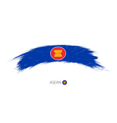Flag asean in rounded grunge brush stroke vector
