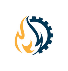 flame and gear combination industrial logo vector image