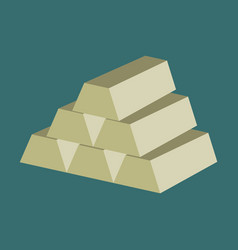 Flat icon on stylish background gold bars vector