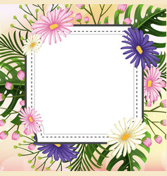 Frame template design with flowers vector