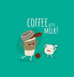 funny image glass coffee with milk and coffee vector image