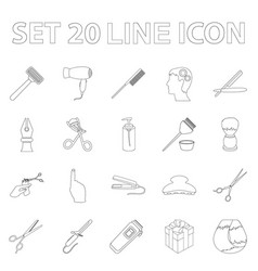 hairdresser and tools outline icons in set vector image