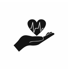 Hand holding heart with ecg line icon vector image