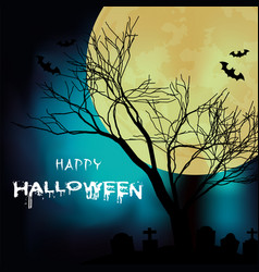 happy halloween tree branch full moon background v vector image