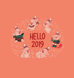 hello 2019 horizontal banner with cute pig vector image