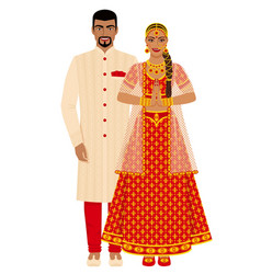 Indian wedding couple in traditional costumes vector
