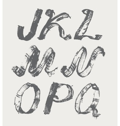 Ink alphabet J to Q freehand stylish in raster vector