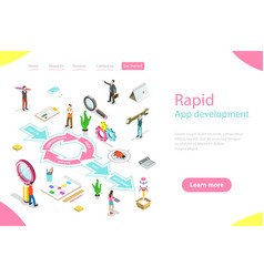 Isometric flat landing page tempate of vector