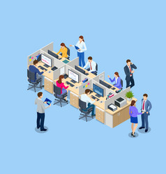 isometric team at work business people in smart vector image