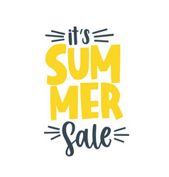 Its summer sale yellow lettering decorated vector