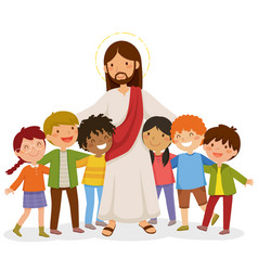 Jesus hugging kids vector