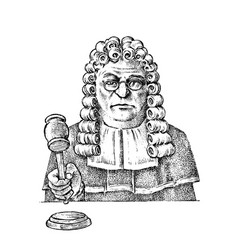 Judge man or magistrate with a hammer for justice vector