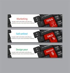 Keyboard for idea sale success banner vector