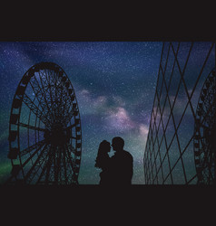Lovers in amusement park at night vector