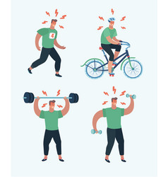 Male sports cardio and exercise vector