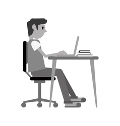 Man working front computer with pc books vector