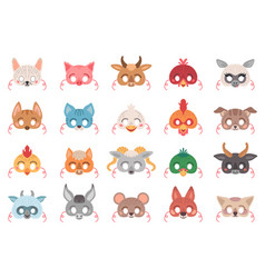masquerade set animal masks for costume vector image