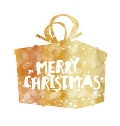 Merry Christmas Golden Gift Box Stars and vector image