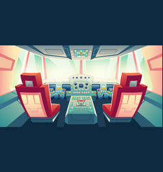 modern business jet cockpit cartoon vector image