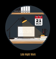 Modern office workspace Freelance night vector