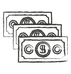 monochrome blurred silhouette of money bills set vector image vector image
