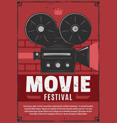 Movie festival vintage video camera vector