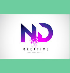 Nd n d purple letter logo design with liquid vector