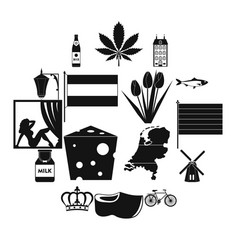 netherlands icons set black simple style vector image