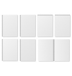 notebook paper sheets sketchbook blank pages with vector image
