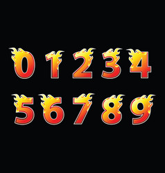 numbers fire logo design vector image