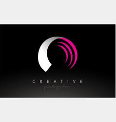 O white and pink swoosh letter logo letter design vector