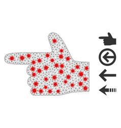 Polygonal mesh hand pointer left pictograph vector