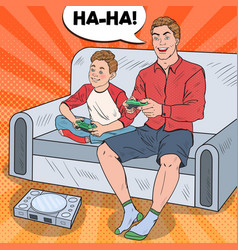 pop art father and son playing video game vector image