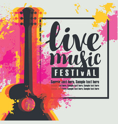 poster for a live music festival with a guitar vector image