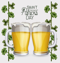 poster saint patricks day with two beer mugs and vector image