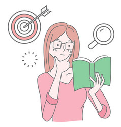 Pretty girl wearing eyeglasses reading book cute vector