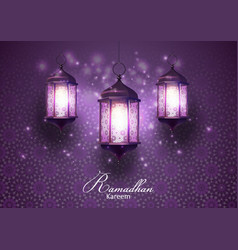 ramadan kareem greetings card with lanterns hangin vector image