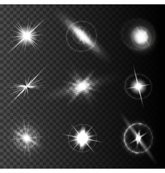 Realistic lens flares star lights and glow white vector